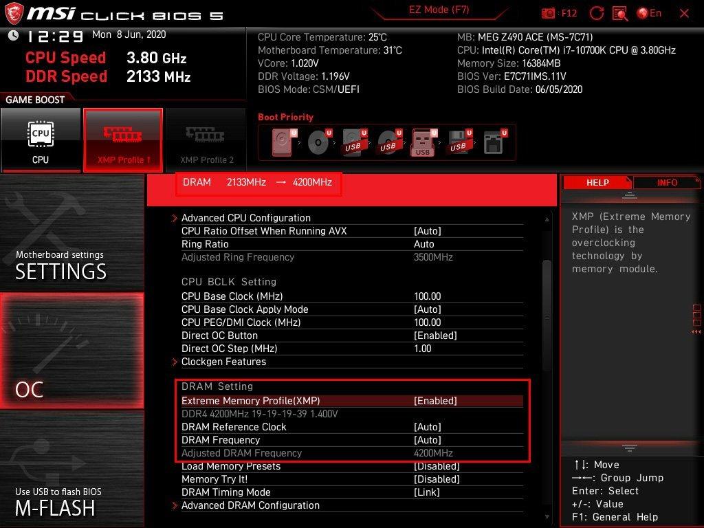 Activer le XMP bios MSI MEG Z490 ACE