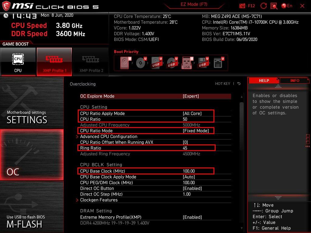Profil à 5 GHz sur la MSI MEG Z490 ACE