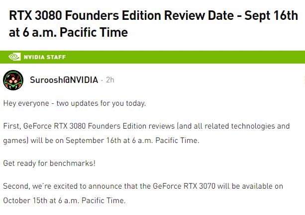 Report NDA Nvidia RTX 3080