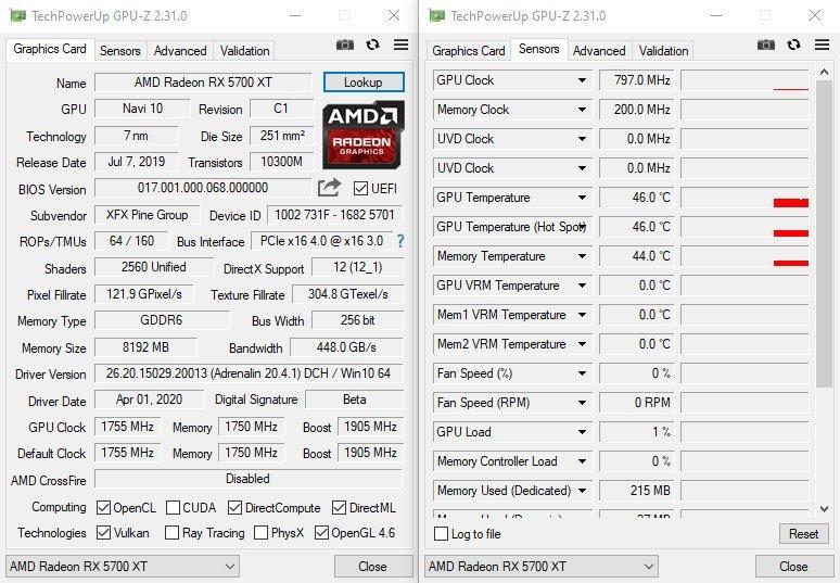 GPUZ XFX RX 5700 XT Triple Dissipation