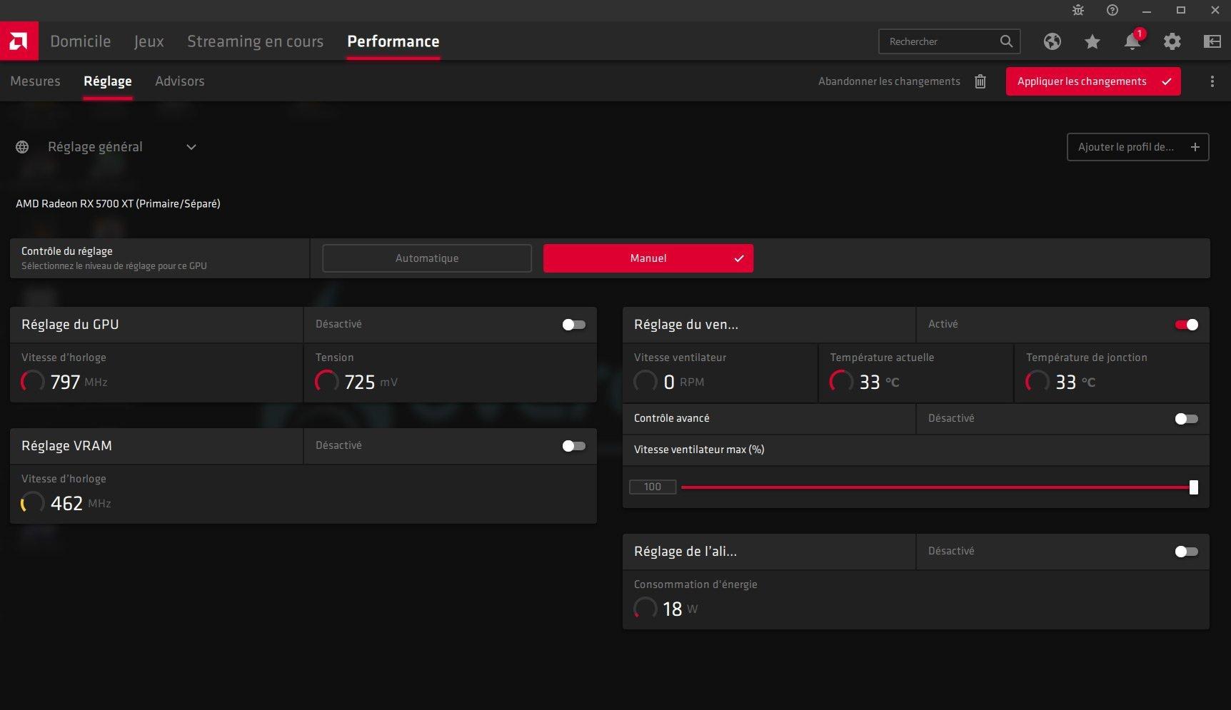 Overclocking RX 5700 XT via les drivers AMD