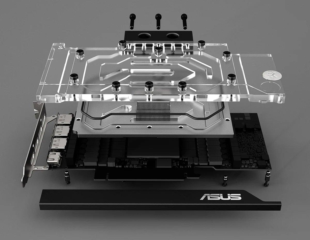 Une série d'Asus RTX 30x0 avec waterblock EK