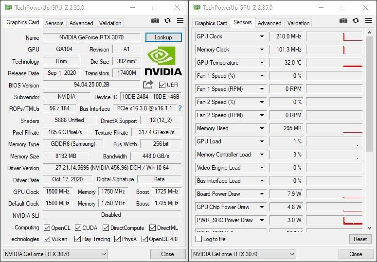 GPUZ NVIDIA RTX 3070 Founders Edition