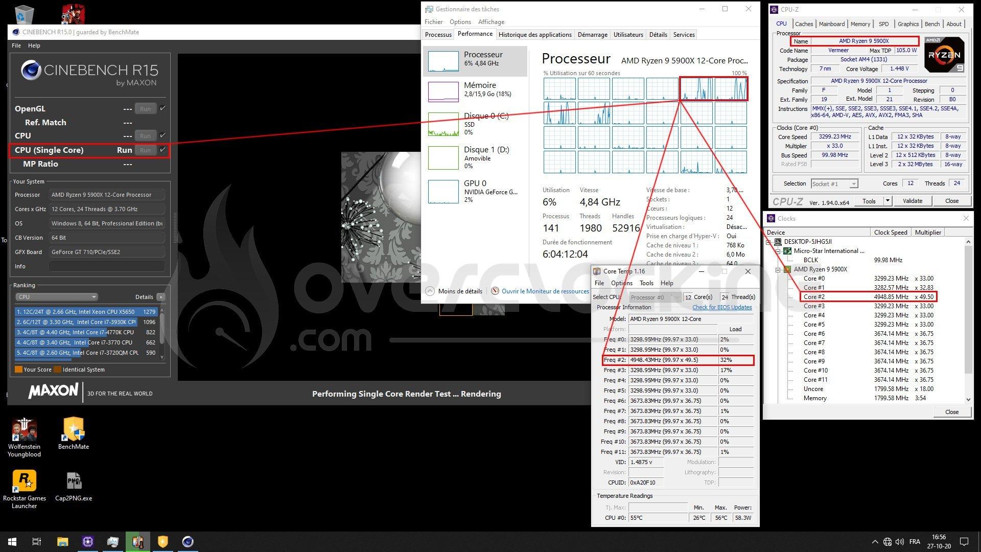 Test de la fréquence Boost du Ryzen 5900X