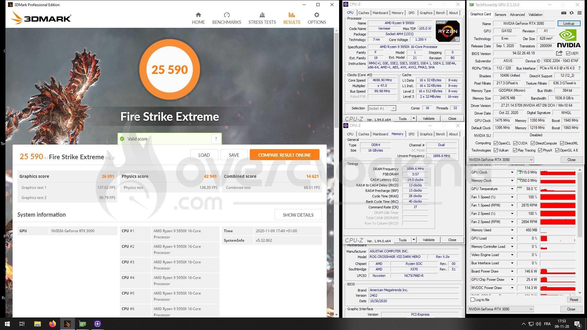 5950X et RTX 3090 Strix OC sous Fire Strike Extreme