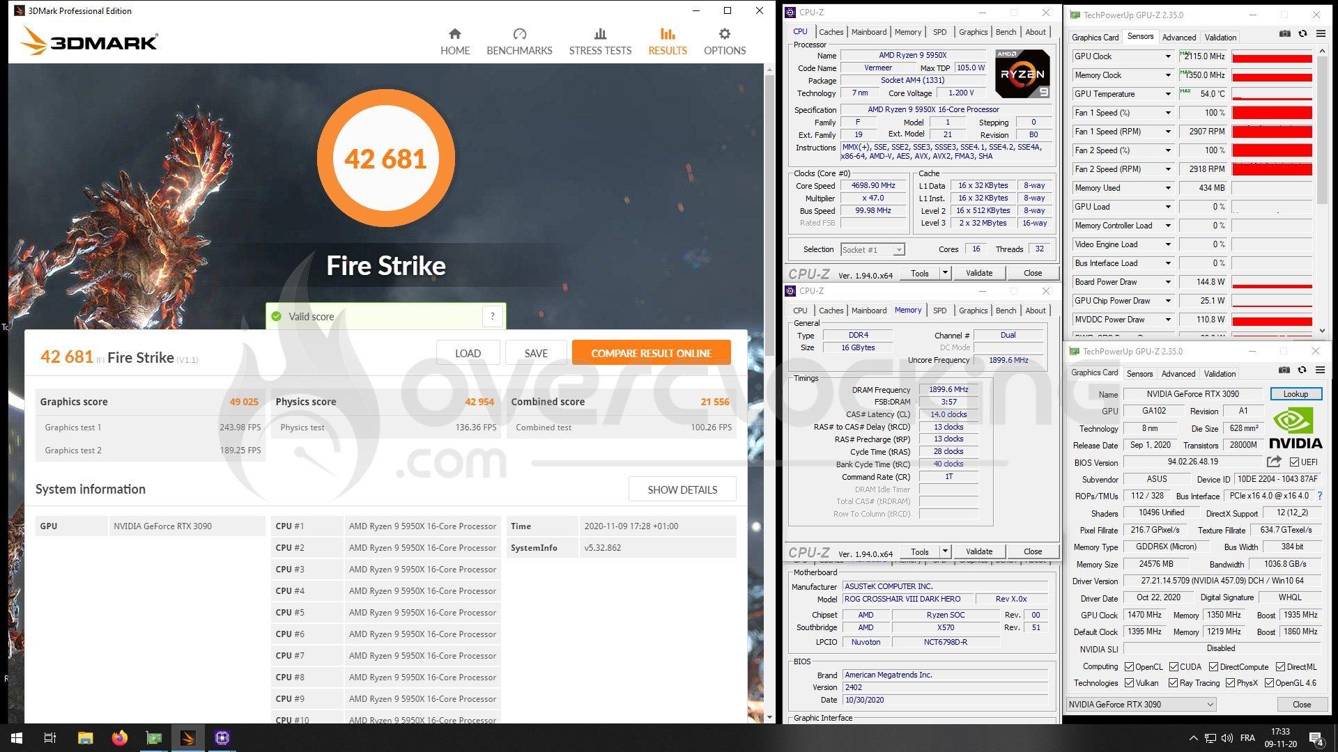 5950X et RTX 3090 Strix OC sous Fire Strike
