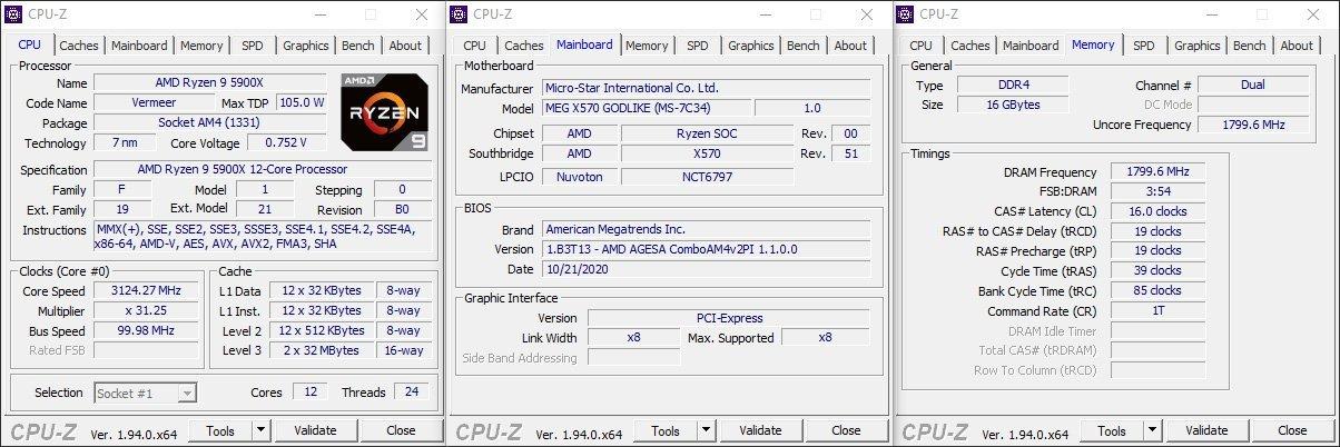 CPUZ AMD Ryzen Vermeer 5900X