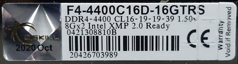 Kit mémoire GSKill TridentZ Royal 4400 CL16