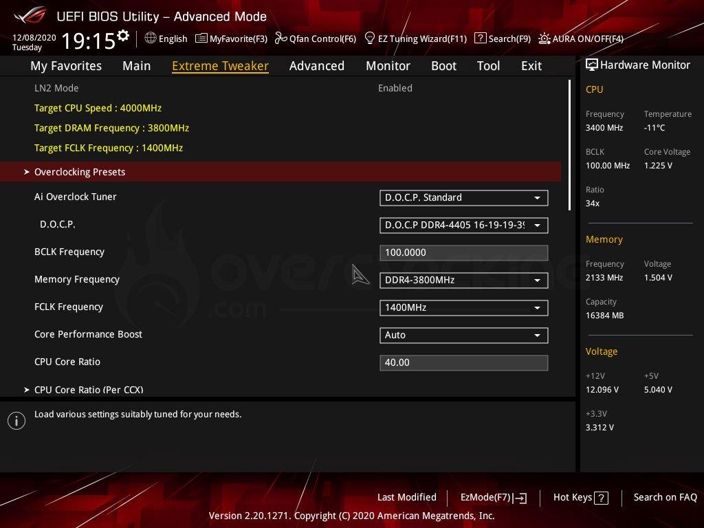Reglage BIOS Session LN2 Asus Crosshair VIII Dark et 5950X