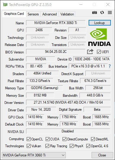 GPUZ NVIDIA RTX 3060 Ti Founders Edition