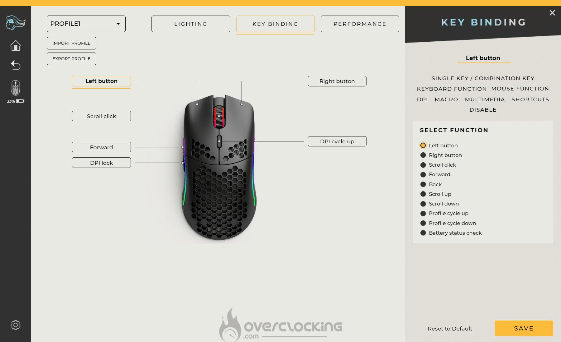 Glorious PC Gaming Race Model O Wireless Glorious Core key binding