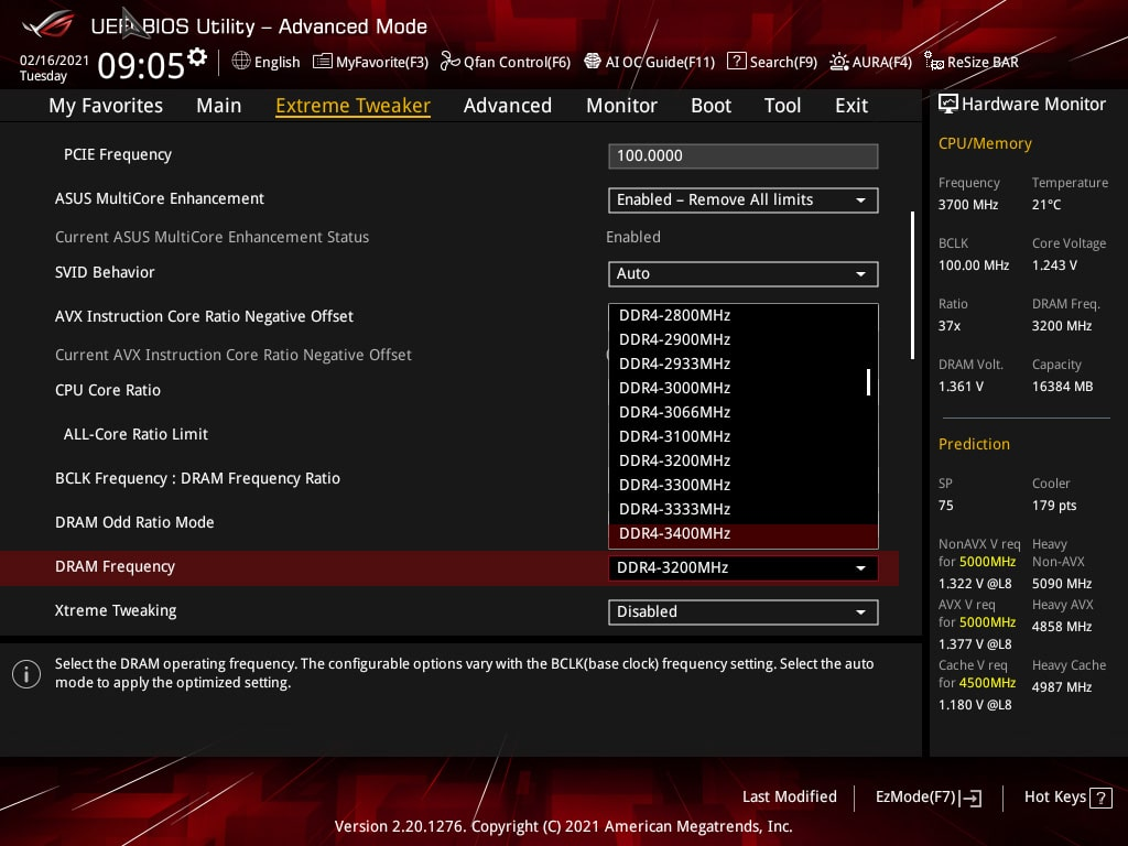 BIOS overclocking mémoire