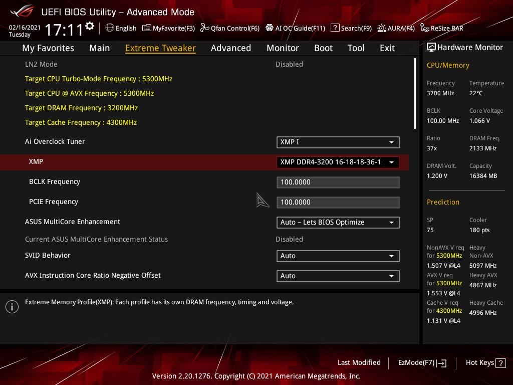 Réglages BIOS profil XMP DOCP