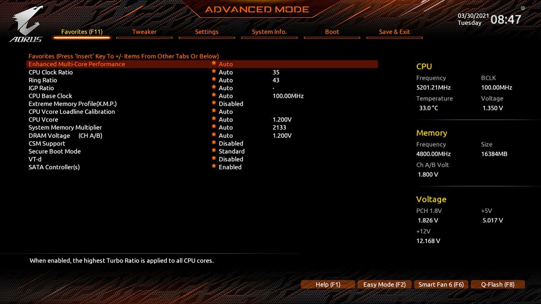 BIOS Aorus Z590 Tachyon