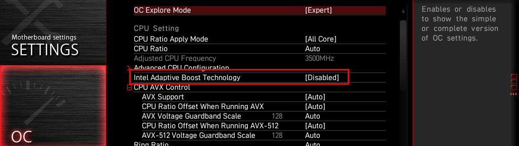 Intel Adaptive Boost Technologie MSI Z590 ACE