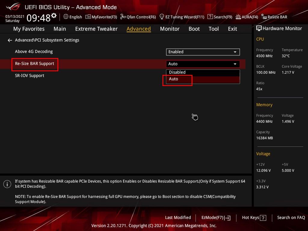Activation SAM AMD dans le BIOS Asus