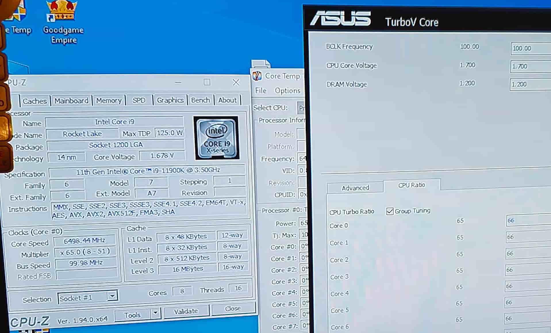Intel Core i9 11900K 6500 MHz