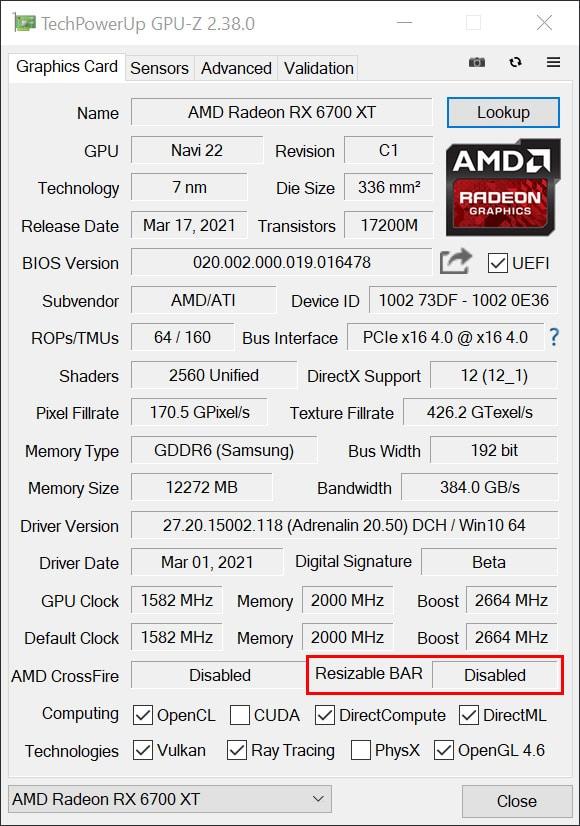 Resizable BAR GPU-Z