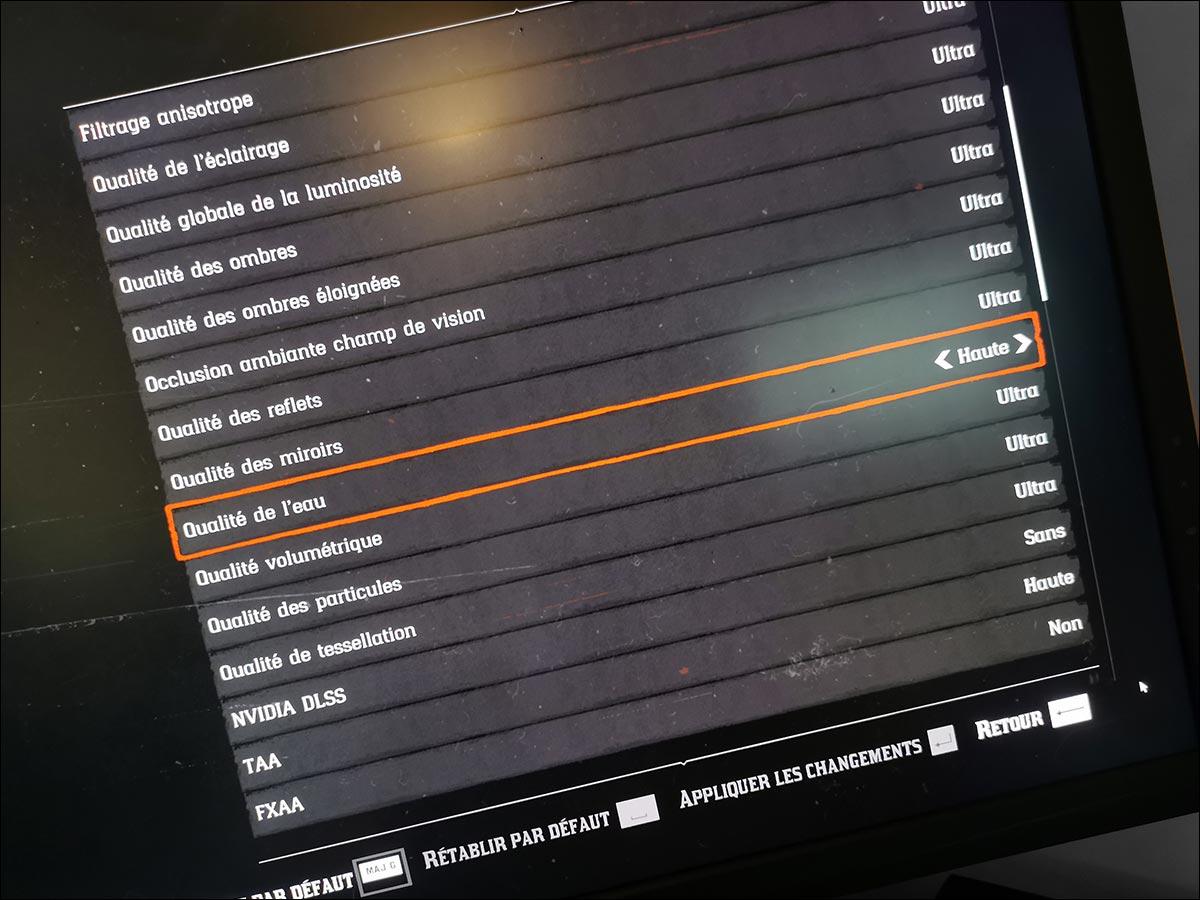 Paramètres Benchmark Red Dead Redemption 2 DLSS