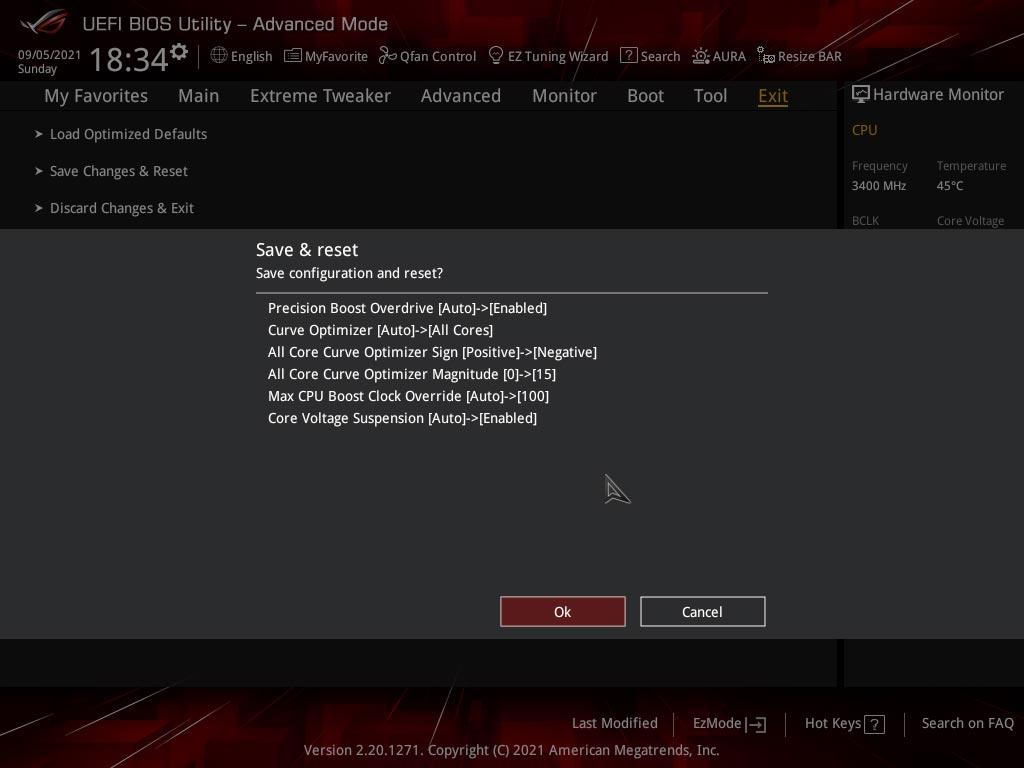 Profil BIOS carte mère Asus ROG Crosshair VIII Extreme