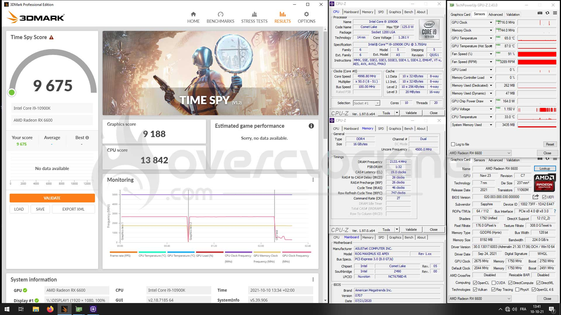 Time Spy overclocking Sapphire RX 6600 Pulse